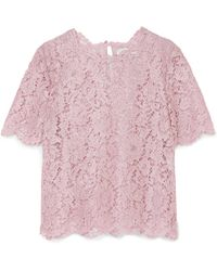 Valentino - Scalloped Metallic Corded Lace Top - Lyst