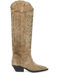 Isabel Marant Denzy Embroidered Suede Knee Boots - Green