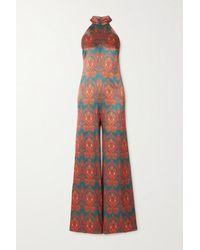 Seren Olive Printed Silk-satin Halterneck Jumpsuit - Multicolour
