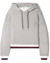 T By Alexander Wang - Cropped Cotton-blend Fleece Hooded Top - Lyst