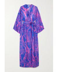 Dries Van Noten Doosey Belted Printed Silk Wrap Maxi Dress - Blue