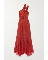 PATBO Embellished Satin-jersey And Crochet-knit Maxi Dress - Red