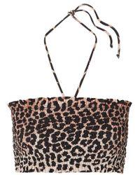 Ganni Gerafftes Bandeau-bikini-oberteil Mit Leopardenprint - Schwarz