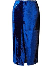 Sally Lapointe Sequined Tulle Midi Skirt - Blue