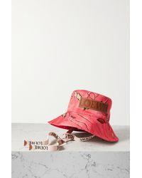 Loewe + Paula's Ibiza Fischerhut Aus Bedrucktem Baumwoll-twill Mit Lederbesätzen - Pink