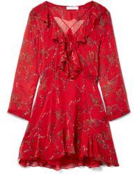 IRO - Lucine Ruffled Printed Georgette Mini Dress - Lyst