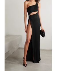 Brandon Maxwell One-shoulder Cutout Ribbed Jersey Gown - Black