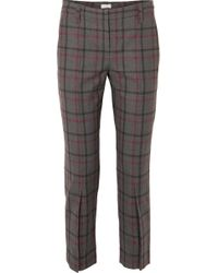 Brunello Cucinelli - Cropped Checked Wool-blend Tapered Trousers - Lyst