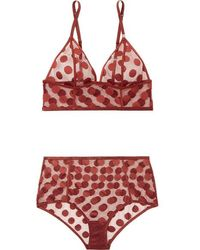Love Stories Dawn And Moonflower Polka-dot Stretch-mesh Bra And Briefs Set - Red