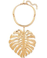 Oscar de la Renta - Monstera Leaf Gold-plated Necklace - Lyst
