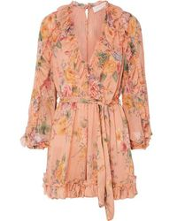 Zimmermann Zinnia Belted Ruffled Floral-print Silk-crepon Playsuit - Multicolour