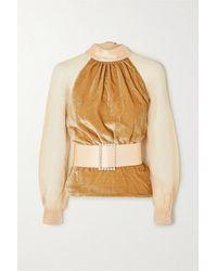 HARMUR Open-back Belted Silk-blend Velvet And Tulle Blouse - Multicolour