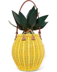 Kayu - Colada Leather-trimmed Wicker Tote - Lyst