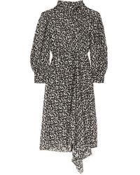 Isabel Marant Julinea Asymmetric Floral-print Fil Coupé Chiffon Midi Dress - Black