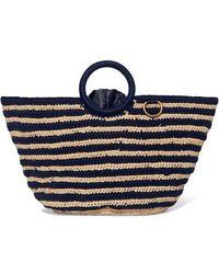 Mizele Sun Striped Crocheted Raffia And Cotton Tote - Blue