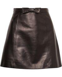 Miu Miu - Bow-embellished Leather Mini Skirt - Lyst