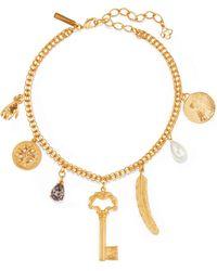 Oscar de la Renta - Gold-tone, Crystal And Faux Pearl Necklace - Lyst