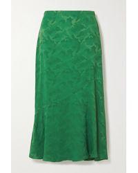 Cefinn Salone Satin-jacquard Midi Skirt - Green