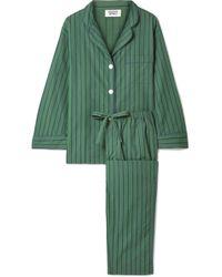 Sleepy Jones - Marina Pyjama Aus Gestreifter Baumwollpopeline - Lyst
