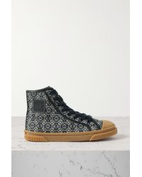 Loewe Anagram Leather-trimmed Canvas-jacquard High-top Trainers - Blue