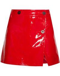 Topshop Unique - Patent-leather Wrap Mini Skirt - Lyst