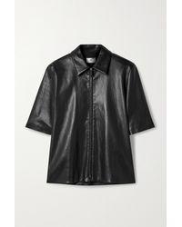 The Row Chloe Leather Shirt - Black