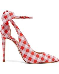Paul Andrew - Fiona Bow-embellished Gingham Canvas Pumps - Lyst