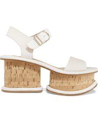 2ec0aabd9c3 Lyst - Burberry Prorsum Leyburn Suede Wedge Sandals in Natural