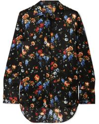 Adam Lippes - Floral-print Hammered-silk Shirt - Lyst