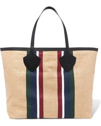 Burberry - Leather-trimmed Striped Cotton-canvas Tote - Lyst