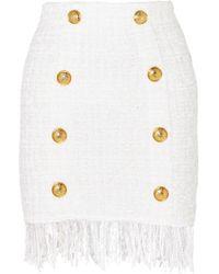 Balmain - Fringed Tweed Miniskirt - Lyst