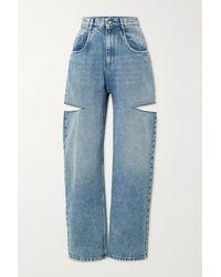 Maison Margiela Cutout High-rise Tapered Jeans - Blue