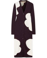 Marni | Ribbed Intarsia Wool Cardigan | Lyst