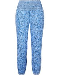 HATCH - Ziggy Smocked Floral-print Cotton-voile Tapered Pants - Lyst