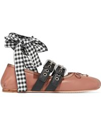 Miu Miu - Lace-up Leather Ballet Flats - Lyst