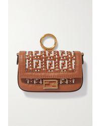 Fendi Baguette Nano Woven Leather Bag Charm - Natural