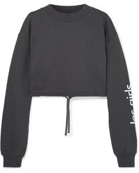 Les Girls, Les Boys Cropped Printed Cotton-jersey Sweatshirt - Gray