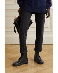 Loewe Logo-print Canvas-trimmed Leather Ankle Boots - Black