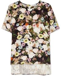 Adam Lippes - Floral-print Silk T-shirt - Lyst