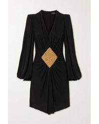 Balmain - Mini-robe En Jersey À Ornements Et À Fronces - Lyst