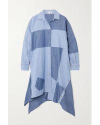Loewe Asymmetric Patchwork Cotton-chambray Shirt Dress - Blue