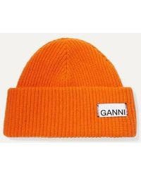 Ganni Bonnet en maille - Orange