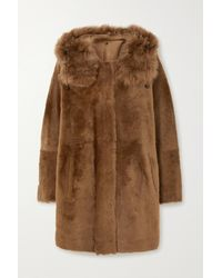 Yves Salomon Reversible Hooded Shearling Coat - Brown