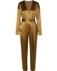 Sally Lapointe Belted Satin Jumpsuit - Multicolour