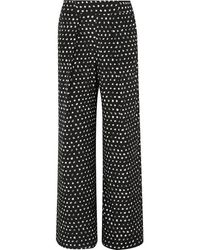 We Are Leone Noah Printed Silk-blend Satin Wide-leg Pants - Black