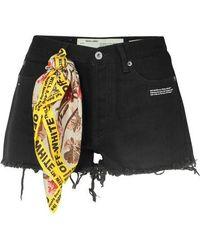 Off-White c/o Virgil Abloh Scarf-embellished Distressed Denim Shorts - Black