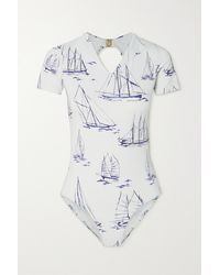 Emilia Wickstead Rosie Cutout Printed Swimsuit - White