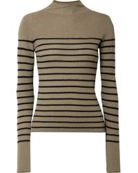 Vince - Striped Ribbed Cashmere Jumper - Lyst