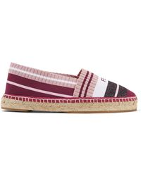 Fendi - Striped Metallic Stretch-knit Espadrilles - Lyst
