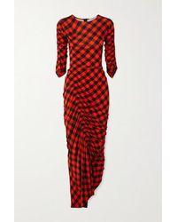 Preen By Thornton Bregazzi - Robe Asymétrique En Crêpe Stretch Vichy À Fronces - Lyst